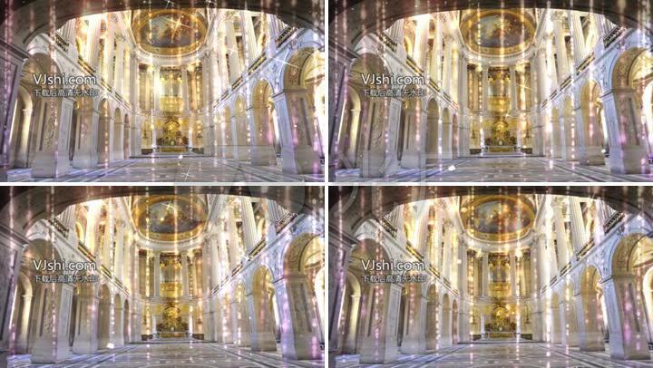 欧式大型婚礼城堡宫殿教堂水晶皇宫证婚背景