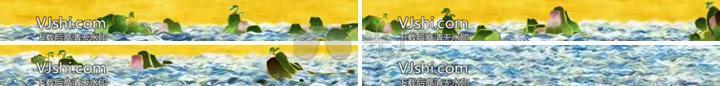中国风古典海水波浪山岛(宽屏环幕)