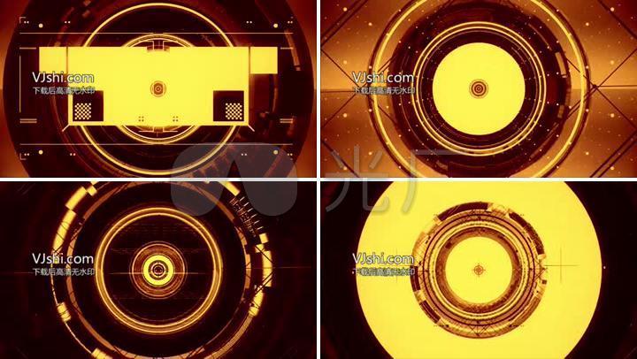 大气3D金色VJ舞台大屏幕背景动态素