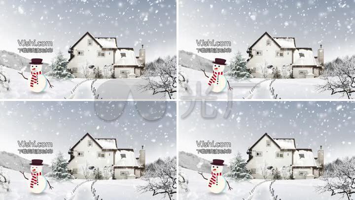 雪屋雪景卡通雪人