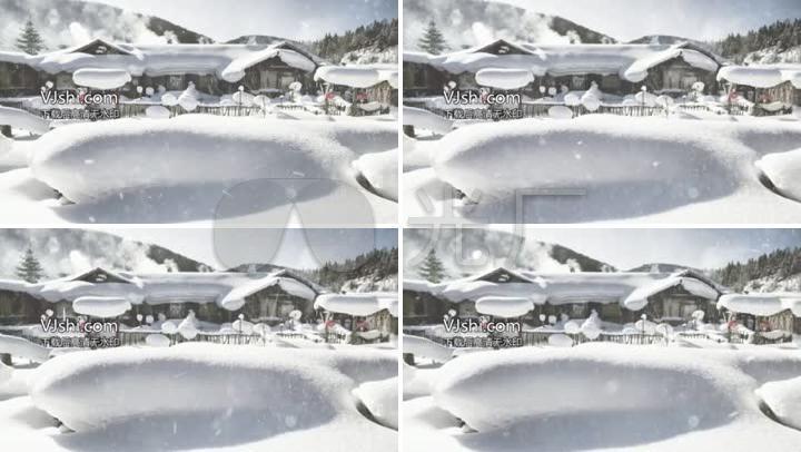 大雪纷飞冬日雪景