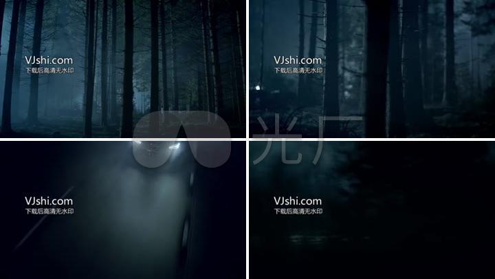 黑暗街道森林汽车走过的恐怖视频素材
