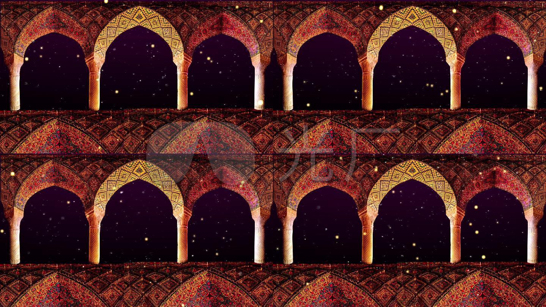 华丽精美宫殿伊斯兰古老色彩民族清真礼拜