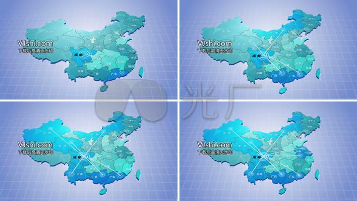 中国地图省份辐射科技