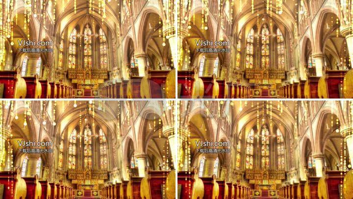 金色大气辉煌教堂欧式婚礼新人入场证婚礼堂