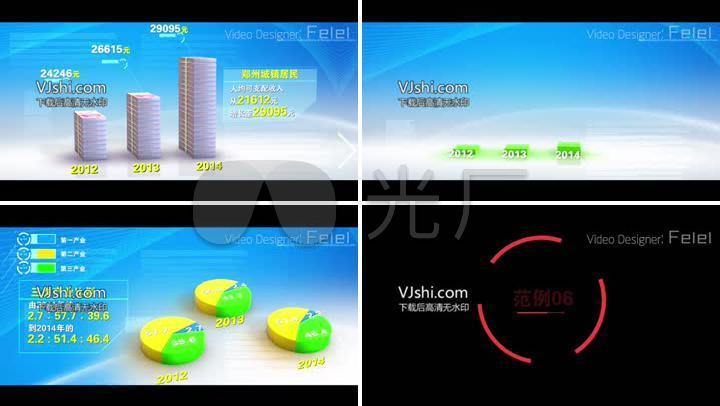 AE数据图表模板3D柱状图饼状图动画模板