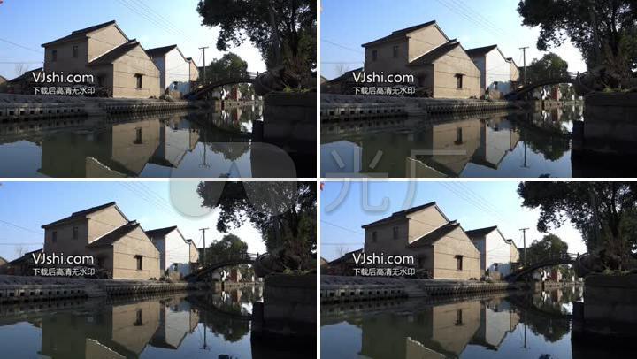 实拍江南水乡,小房子,老桥,村头