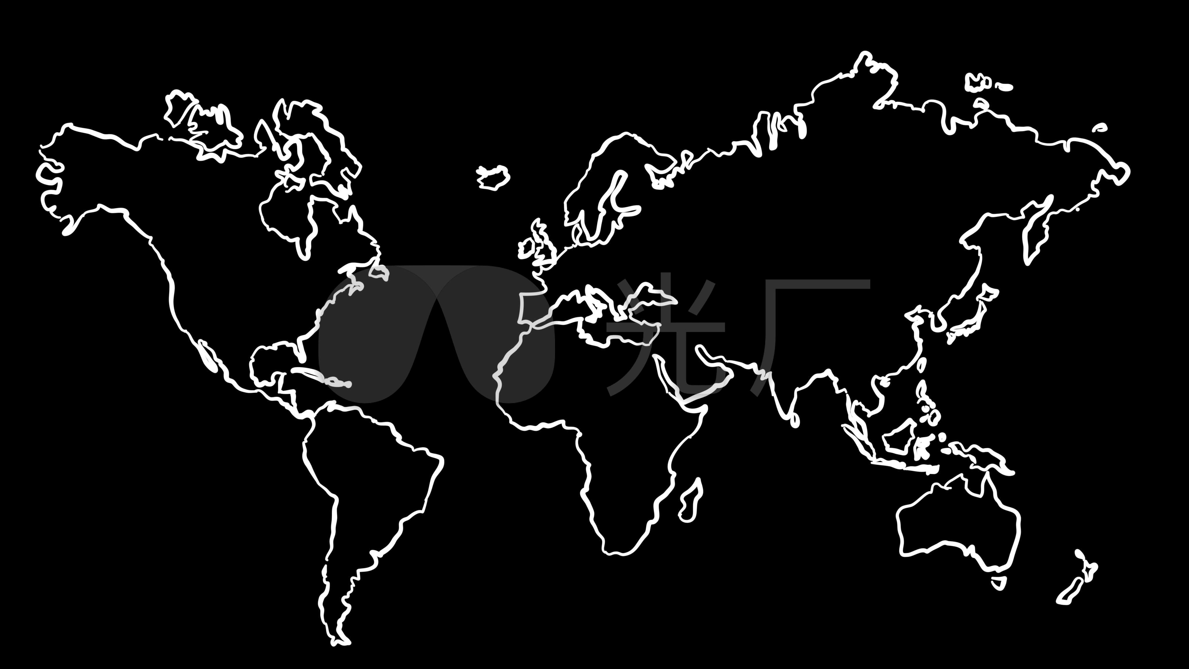 4k世界地图手绘动画片头_4096x2304_高清视频素材下载
