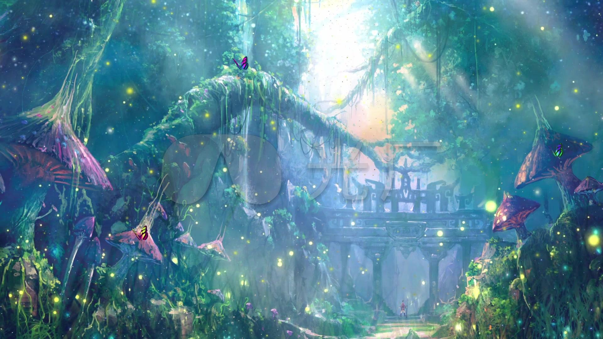 唯美梦幻仙境森林童话萤火虫led背景视频图片