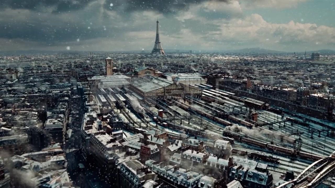 欧洲城市巴黎下雪雪天全景老式火车_1280x720_高清(:)