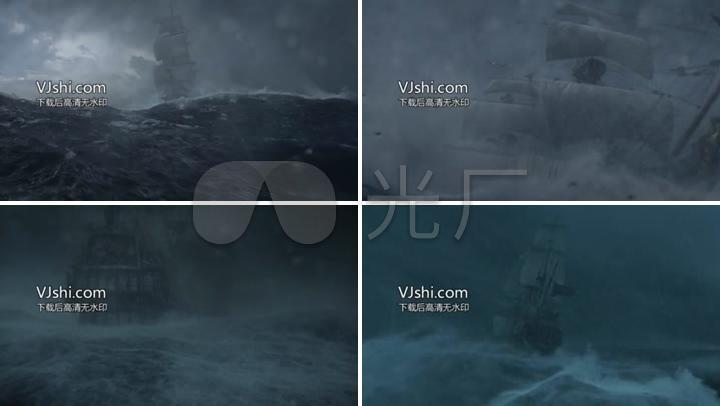 古代帆船风暴起航乘风破浪