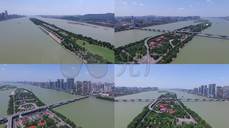 航拍橘子洲头过江大桥