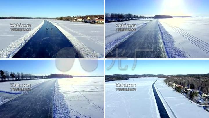 航拍天然滑冰场
