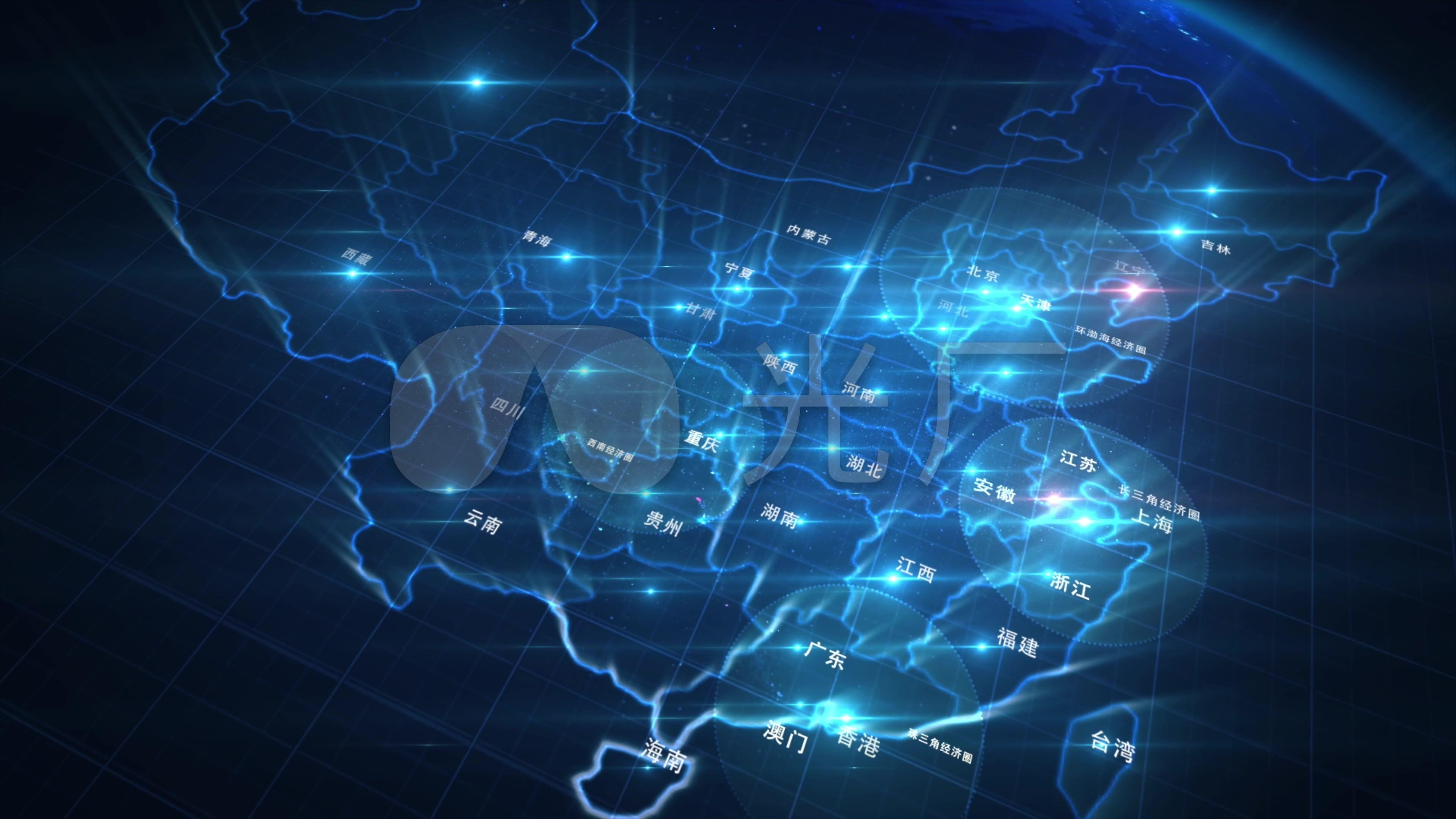 酷炫创意宇宙流星坠落渲染中国地图城市名字