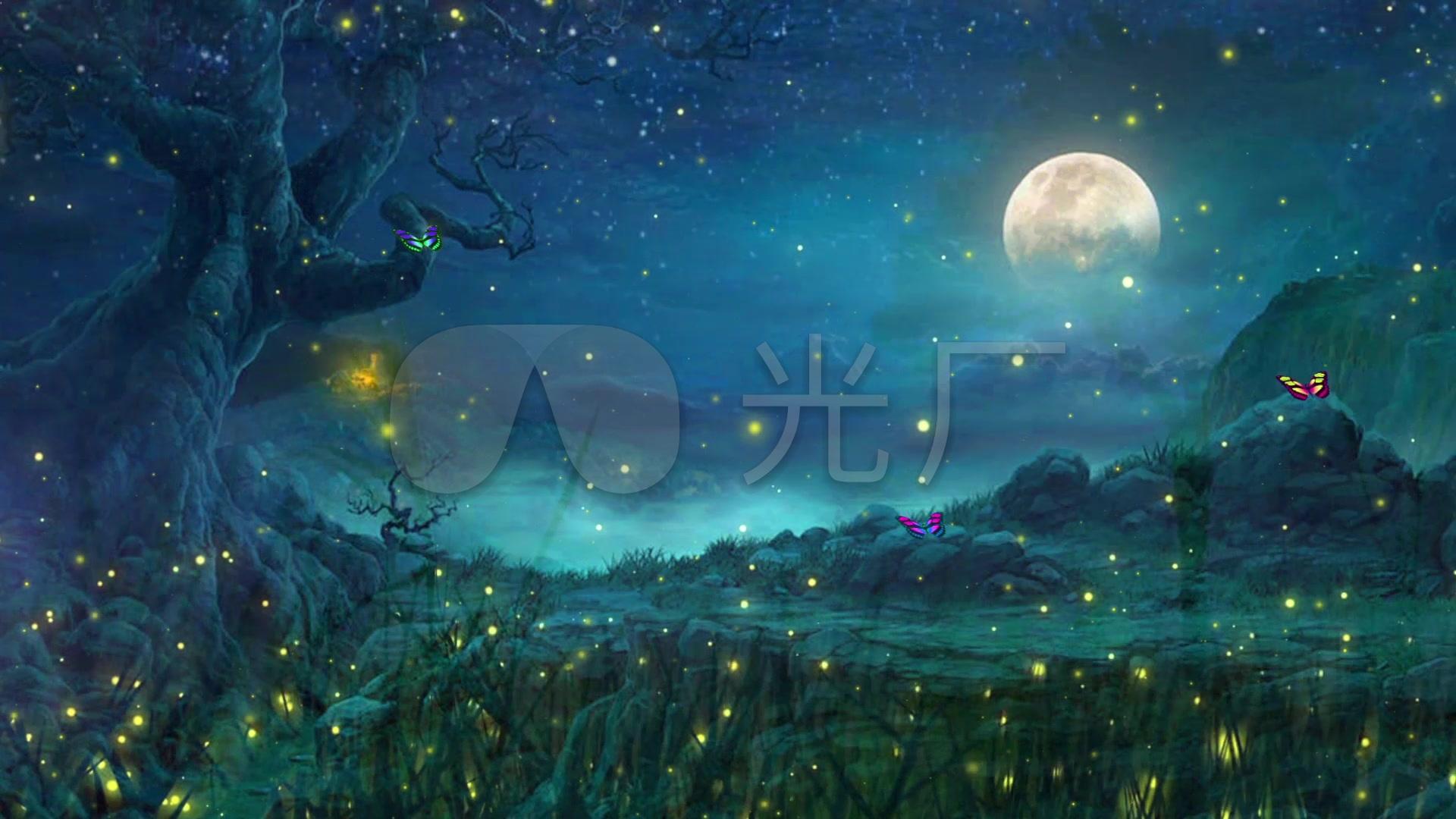 唯美梦幻月夜仙境萤火虫森林led背景视频图片