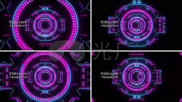 科幻炫酷3d场景圆形机械感vj背景