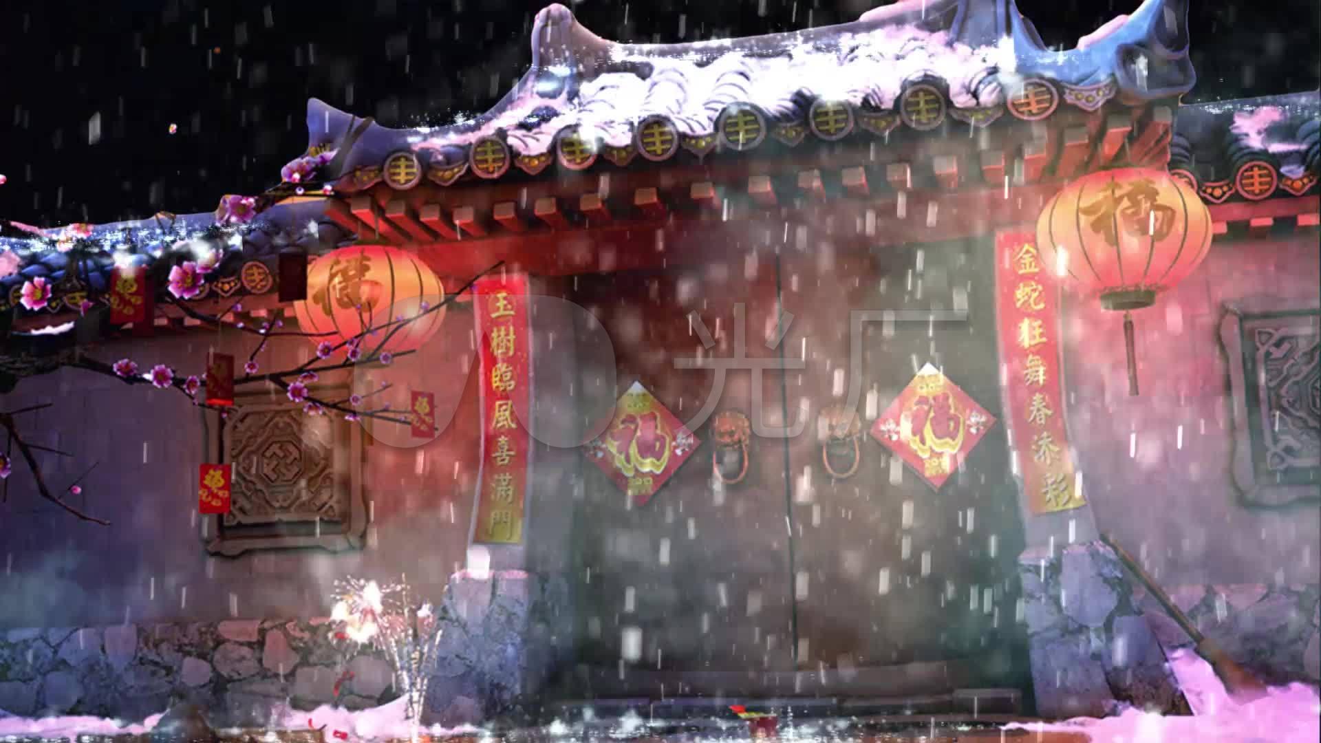 中国风古风喜庆房屋城墙下雨_1920x1080_高图片