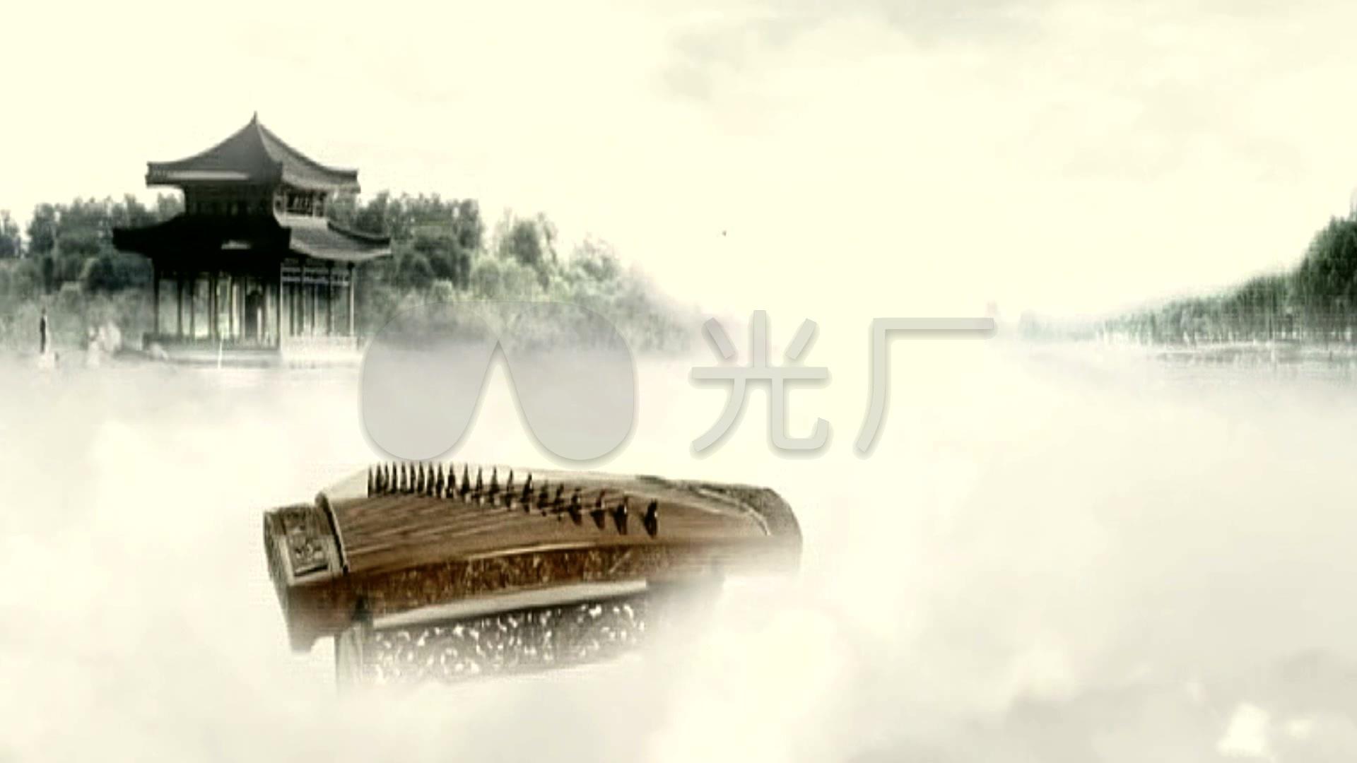 中国风视频水墨视频飘动古筝烟雾_1920X108素材重力图片