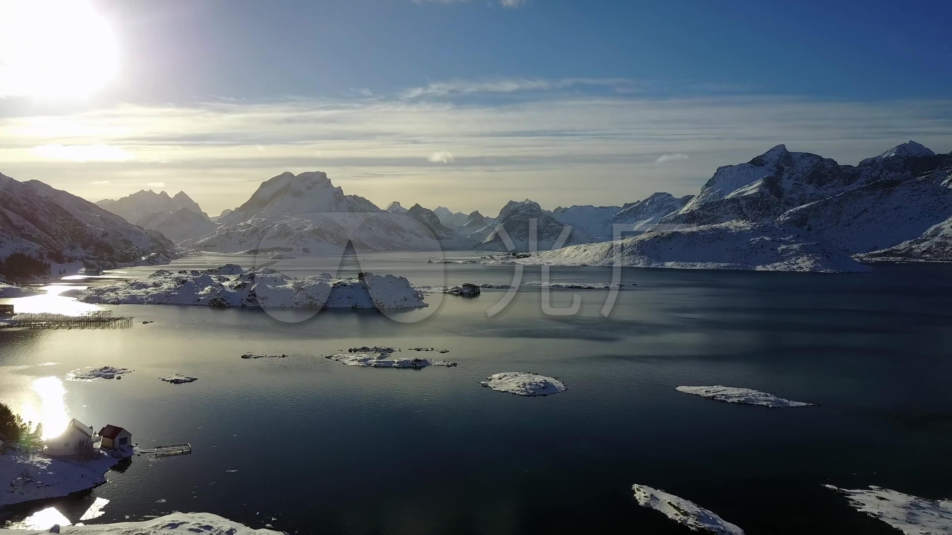 航拍挪威罗弗敦群岛雪山冰雪岛屿8316
