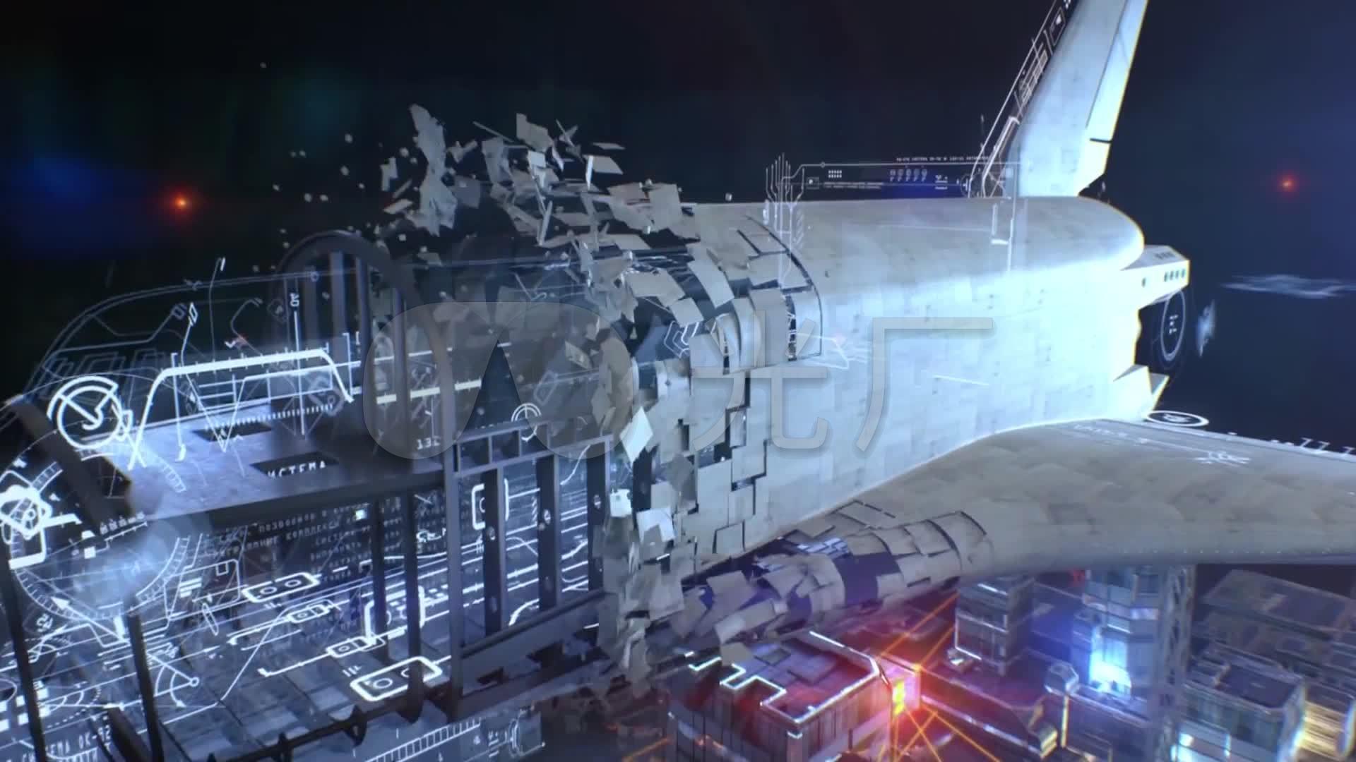 航天飞机动画_1920x1080_高清视频素材下载(编号:)