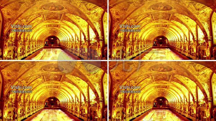 金色大厅欧式金色大殿宫殿壁画门
