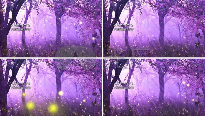 紫色唯美梦幻森林萤火虫蝴蝶夜色童话背景