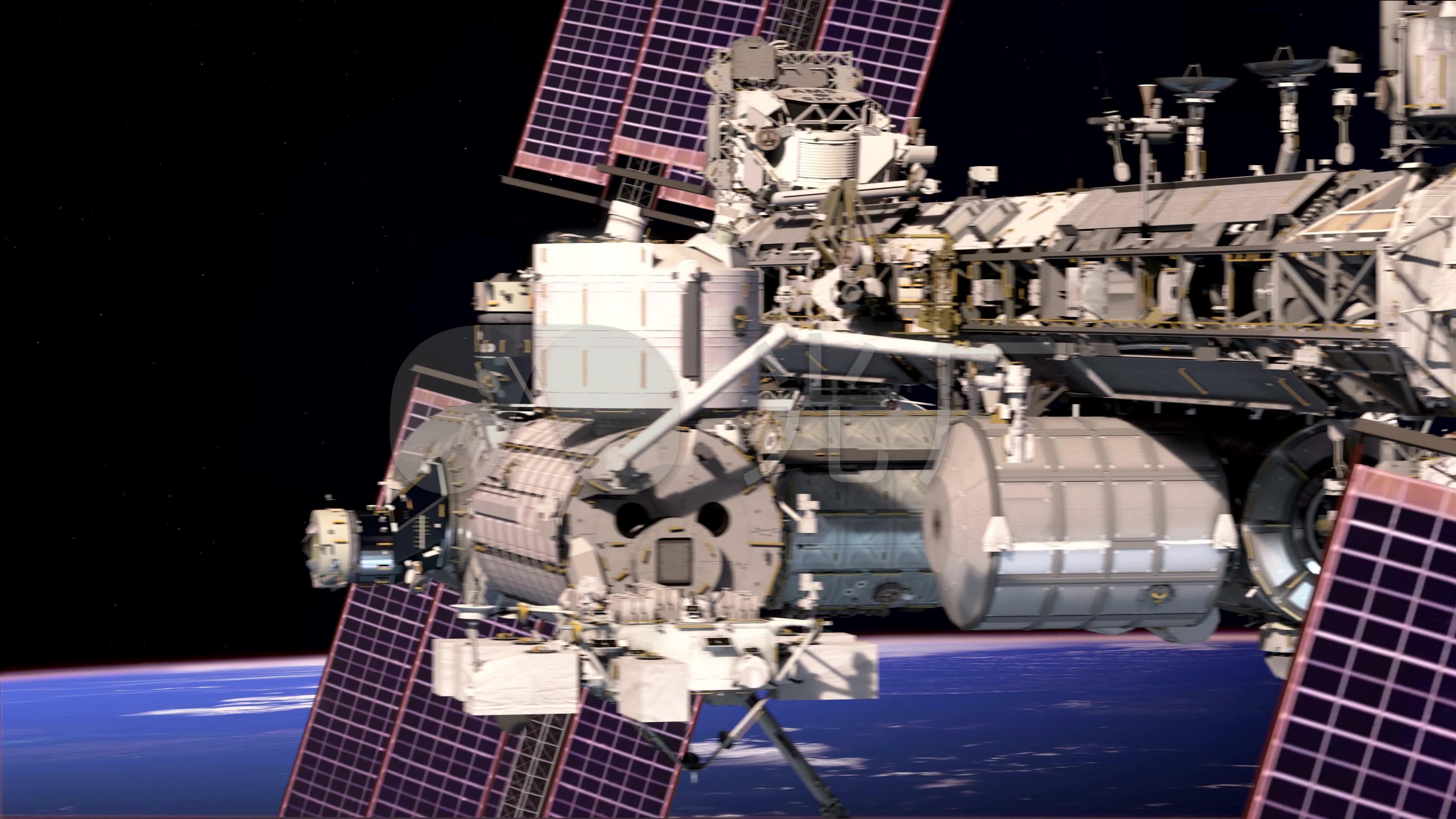 宇宙飞船空间站航天飞机宇航员_3840x2160_高清视频