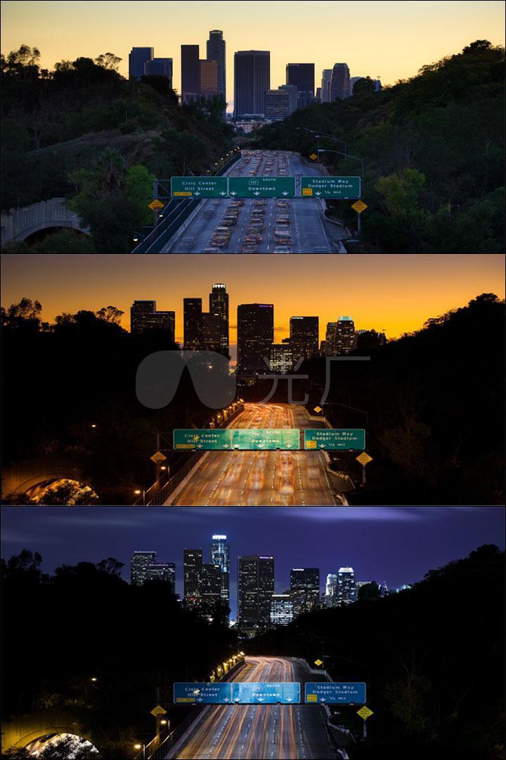 (黑夜到白天)城市街头风景素材_1920x1200_高清视频(: