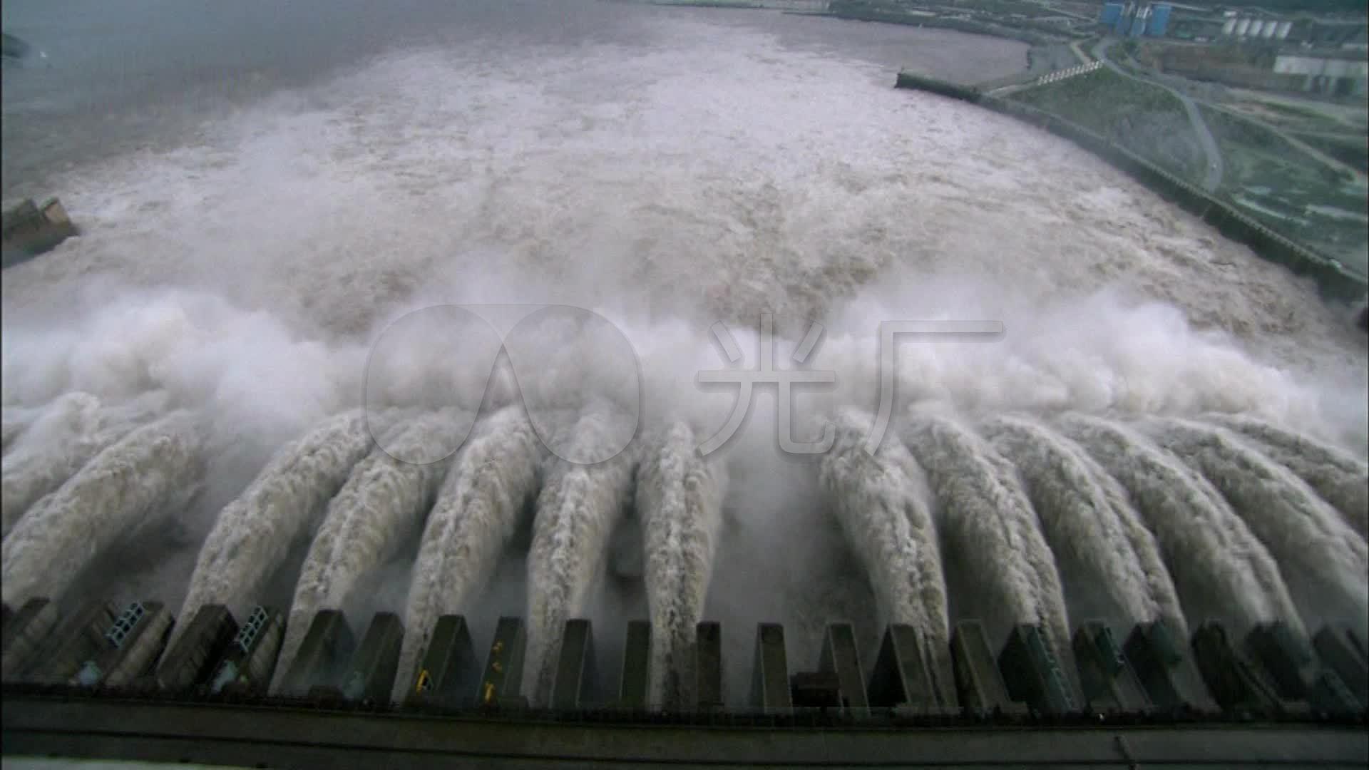 长江三峡大坝泄洪水力发电站视频_1920X108水坝975图片