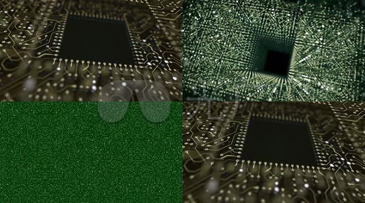高科技电流电路板线路视频素材