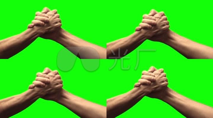 成功合作相互握手共赢斗力比赛