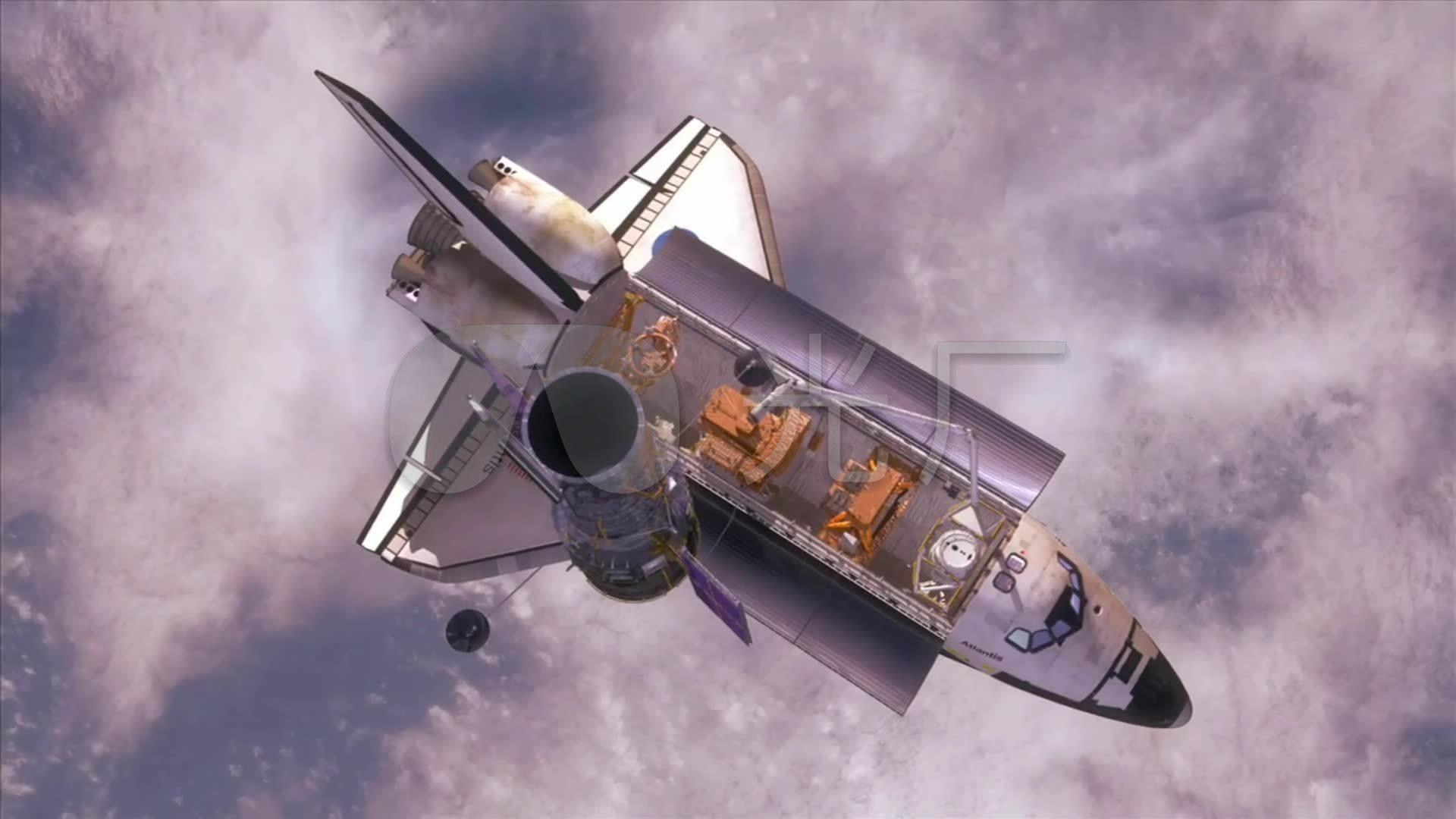 航天飞机送卫星进轨道_1920x1080_高清视频素材下载