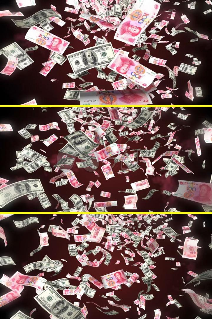 人民币美元钱币掉落天上掉钱视频素材_mp4_6下载(编号