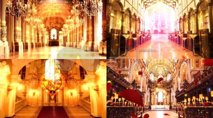 结婚婚礼婚庆欧式宫廷教堂场景舞台背景