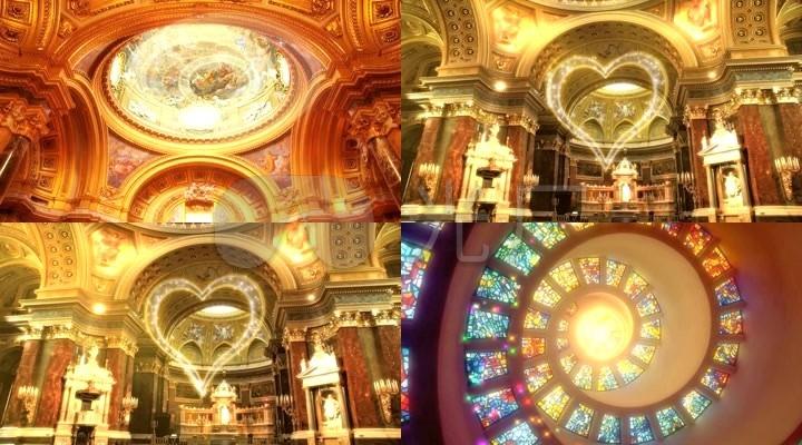 结婚婚礼婚庆欧式宫廷教堂场景舞台背景1