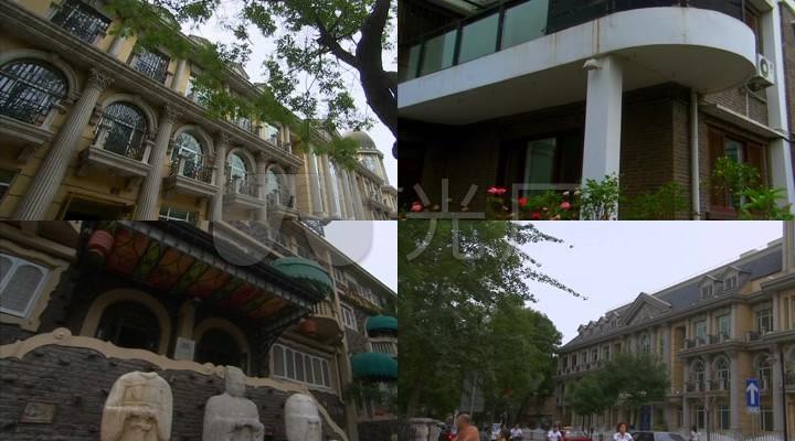 别墅天津五视频别墅区特色欧式建筑素材大道高清家福柳河县万图片