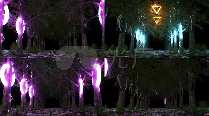 森林三角形舞台led背景素材图片