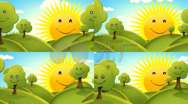 卡通太阳卡通阳光卡通绿树卡通背景图片