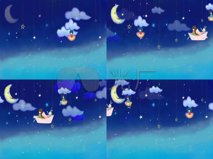卡通夜晚月亮星星唯美图片