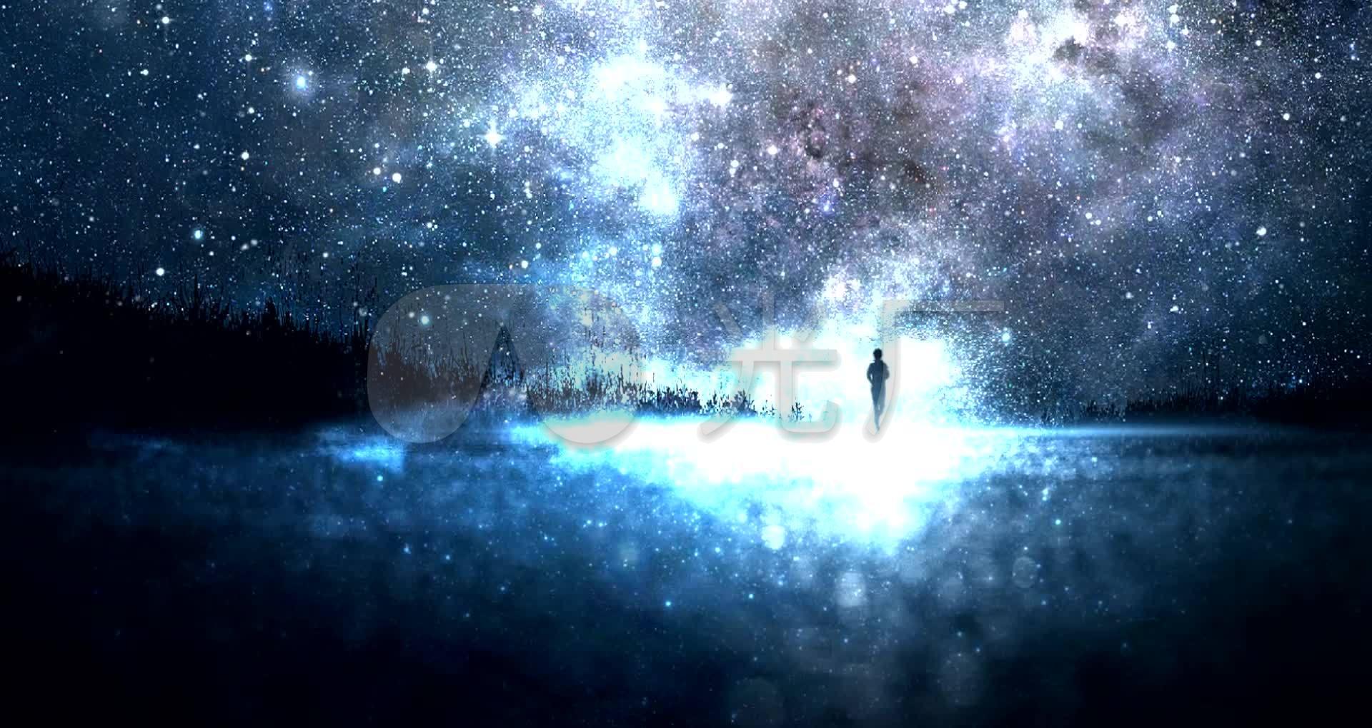 星空视频壁纸_绚丽星空繁星闪烁湖面倒影led背景视频