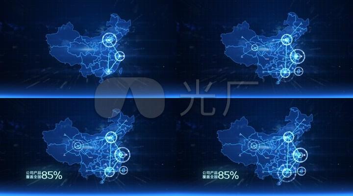 企业宣传科技感中国地图辐射
