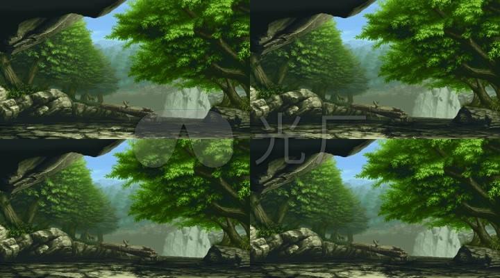 像素风格小桥流水森林图片