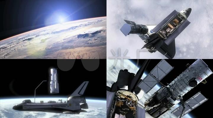 航天飞机卫星地球动画_1280x720_高清视频素材下载(:)