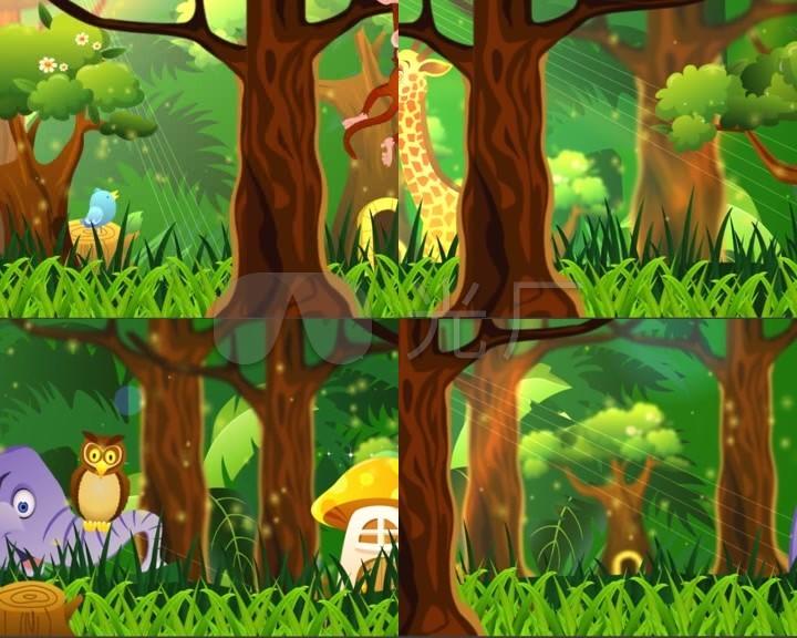 卡通森林小动物led背景幼儿园演出图片