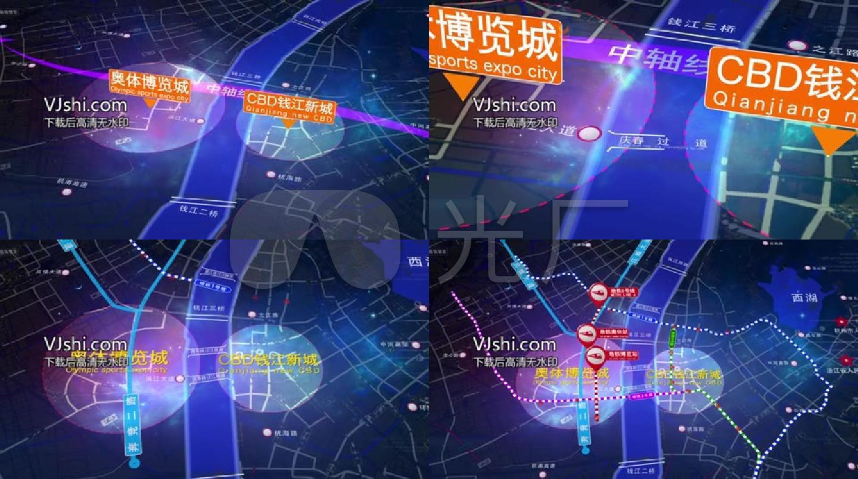 杭州奥体cbd钱江新城区位地图ae模板