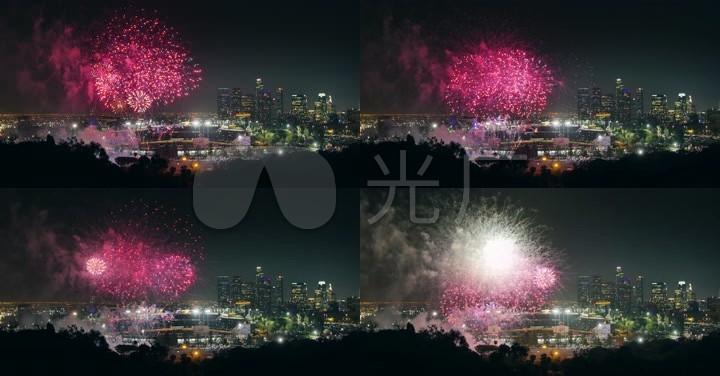 4K高清实拍城市夜空辉煌焰火