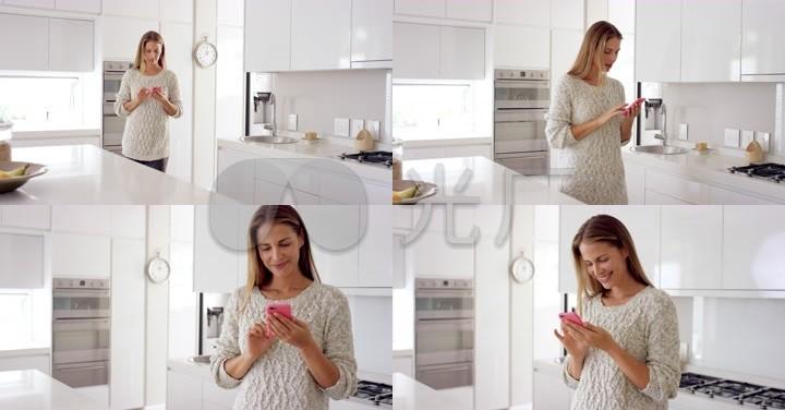 4K高清实拍家庭主妇厨房互联网科技通讯