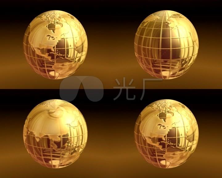 黄金地球旋转背景