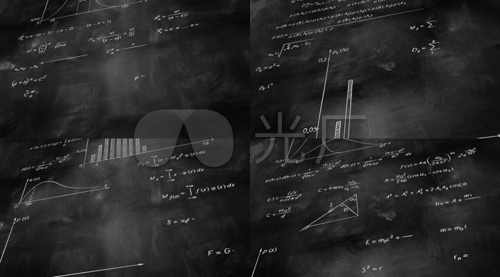 可循环的黑板上数学题目公式背景