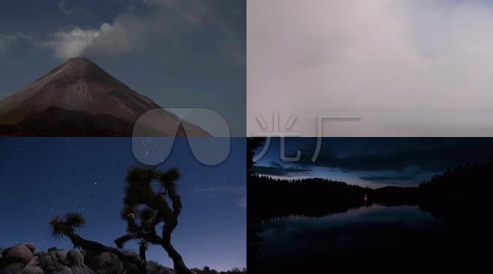延时拍摄星空海边日落火山自然风光